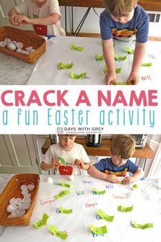 Easter idea for kids Easter Activities For Kids, Name Activities, Spring Activities, Infant Activities, Kindergarten Activities, Preschool, Kids Fun, Plastic Easter Eggs, Fun Learning