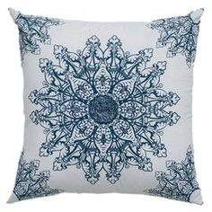 Rizzy Home White Medallion Decorative Pillow. Bring beautiful style into your home with this White Medallion Decorative Pillow. This chic accent piece features a large medallion embroidered design on a fresh white backdrop. Blue Throws, Blue Throw Pillows, White Pillows, Sofa Pillows, Accent Pillows, Decorative Throw Pillows, White Backdrop, Joss And Main, Accent Pieces