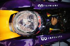 Shot of the top of Sebastian Vettel's 2013 British Grand Prix helmet, in his RB9 #BritishGP #F1
