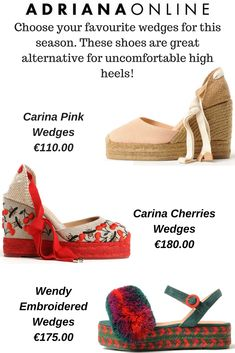 Shop ADRIANAONLINE designers selection and finest designers you might not know yet. Pink Wedges, Summer Essentials, Shoes Style, Your Favorite, Alternative, High Heels, Shopping, Design, High Heeled Footwear