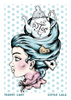 A4 Print of a Teapot Lady Illustration by Little Lala. This would make an awesome tattoo!