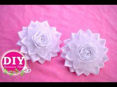 DIY Kanzashi Flower scrunchy.Elegant bows.The Flower from the satin ribbon - YouTube