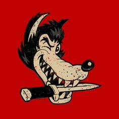 cartoon character line art stylized golden age badass wolf knife
