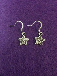 Antique Silver Star Dangle Earrings by CraftyOlBats on Etsy