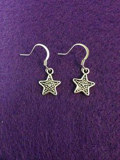 Antique Silver Star Dangle Earrings by CraftyOlBats on Etsy