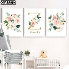 Nursery Paintings, Nursery Wall Art, Girl Nursery, Baby Prints, Wall Art Prints, Baby Girl Room Decor, Baby Posters, Flower Nursery, Flower Letters