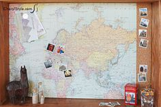 DIY shadow box drawer lined with cork and a map to mark your travels