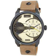 Diesel Men's Mini Daddy Leather Strap Dual Time Zone Watch ($136) ❤ liked on Polyvore featuring men's fashion, men's jewelry, men's watches, sand, mens watches, mens leather strap watches, blue dial mens watches, mens dual time zone watches and diesel mens watches
