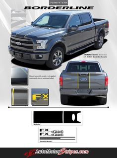 Vehicle Specific Style Ford F-150 Series Truck BORDERLINE w/ Accents Middle Hood Vinyl Graphic Stripe Decals Year Fitment 2015 2016 Contents Hood Graphic, Tailg