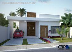 Planta de casa com 3 quartos sendo 1 suíte, 2 vagas de garagem e varanda gourmet para quem quer construir uma casa moderna com telhados escondidos