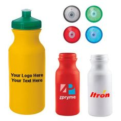 """Promotional 21 Oz Good Value Bottles: Available Colors: Red, White, Yellow. Product Size: 7""""h x 2-7/8""""diameter. Imprint Area: 1 Side only: 3-1/2""""w x 3""""h. Box Weight: 14 lbs. Packaging: 100. Material: High-Density PE (Polyethylene) Plastic. Made In: USA. #customwaterbottle #promotionalproduct #summerproduct"""