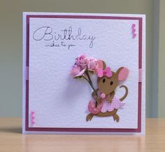 Birthday Card, Handmade - Marianne mouse die. For more of my cards please visit CraftyCardStudio on Etsy.com.
