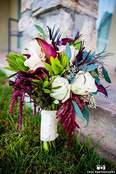 Temecula Creek Inn Wedding Bridal Bouquet with Purple and Teal Flowers, Winery…