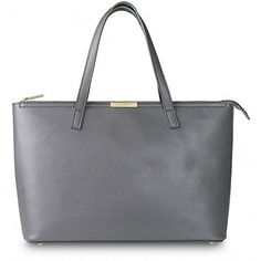 Katie Loxton Large Tote Bag - Charcoal Grey with Colbalt Blue Lining