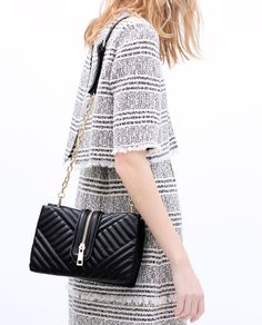ZIPPED QUILTED MESSENGER BAG from Zara