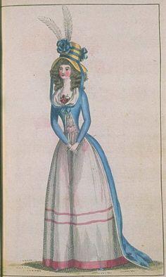 Journal de la Mode et du Gout, July 1790. I love her hat and the pretty pink…