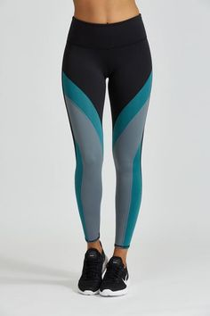 Equal parts stylish and functional – the Jordyn Legging keeps up with your active lifestyle. Bold color blocking and laser cut mesh detailing. Superior compressive Italian fabric contours and supports.  Not sure of your size? Let us help you with oursize chart. It's all in the details... Designed For:Yoga, Pilates, Barre, Spin, and anything that gets your heart pumping Fabric(s):38% poly, 46% polyamide, 16% spandex Care:Machine wash or hand wash cold; tumble dry low and remove prom...