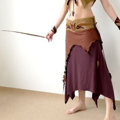 Psytrance clothing and accessories: Native - asymmetrical skirt with leather applique in modern primitive style, brown, size M / L