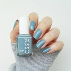 'parka perfect' by essie is the perfect light blue and gray nail polish with a hint of shimmer.
