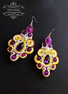 Handmade Soutache Purple Jellow White Earring