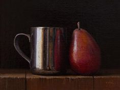 """Daily Paintworks - """"Silver Cup and Red Pear (+ Se..."""" by Abbey Ryan"""