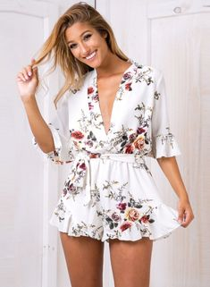 37d56d60d4 DevenGee 2017 Plus Size White Playsuit Elegant Sexy Deep V Neck Floral  Summer Beach Women Rompers Womens Jumpsuit Short Overalls
