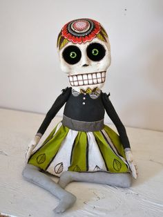 Day of the Dead Sugar Skull Poppy Doll by cartbeforethehorse, $220.00