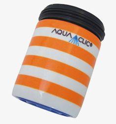 Spart bis zu 50% Wasser und Energie am Wasserhahn: AquaClic Copacabana aus Messing.