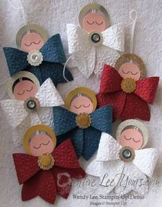 At my recent stamp party I gave these sweet bow angels to my guests that brought a friend with them to the party. Everyone really liked the angels so I thought I would share the instructions ith yo...
