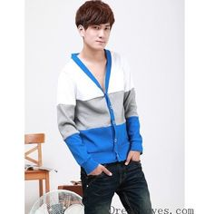 Personality Mens Contrast Color Black Blends Long Sleeve Cardigan... ($18) via Polyvore