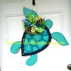 Summer door hanger,Turtle door hanger,Nautical door hanger,beach sign, beach wreath, Beach door hanger, by Furnitureflipalabama on Etsy