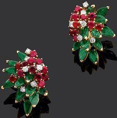 Marchak - Boucles d'Oreilles - Or, Rubis, Diamants et Emeraudes - Années 60
