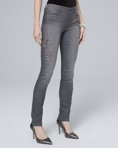 29f67188e Women's Classic-Rise Scroll-Embellished Slim Jeans by White House Black  Market Happy Legs