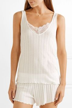 Skin - Lace-trimmed Pima Cotton Pajama Set - Off-white
