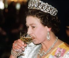 The Vlad tiara, with pearls and a chilled glass of white wine.