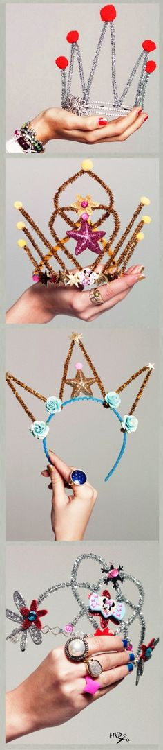 With Pipe Cleaners. Do it self fabulous crowns and tiaras! With Pipe Cleaners. Do it self fabulous crowns and tiaras! Craft Projects, Crafts For Kids, Arts And Crafts, Diy For Kids, Cool Kids, Chenille, Activities For Kids, Birthday Parties, Birthday Crowns