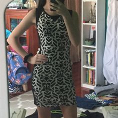 Divided H&M b&w patterned body con dress Worn once for homecoming, great condition, dress it up or down! Smoke free home! Divided Dresses Mini