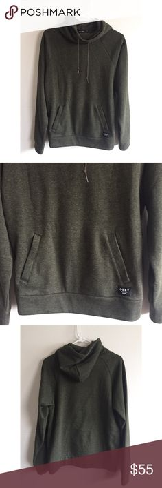 NWOT Obey Propaganda Hoodie New without tags Obey Hoodie. So warm and cozy. Great sweater, cool color - dark olive green. Still has the new smell. Please see pictures. 10/10 no flaws, stain, pet hair. Medium size, I believe unisex. Msg me for questions! Obey Sweaters