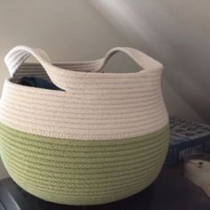 See more from this shop on Etsy, a global marketplace of creative businesses. Rope Basket, Basket Weaving, Bamboo Basket, Fabric Bowls, Rope Crafts, Bag Patterns To Sew, Sewing Patterns, Purse Tutorial, Basket Decoration