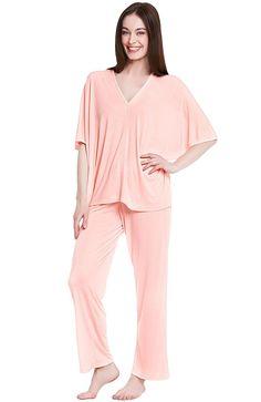 a83a015d0f Del Rossa Womens Modal Knit Pajamas- Long Loose V-Neck Pj Set - Pink -  C212DSG8JWZ