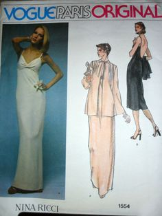 Vogue Paris Original 1554 Misses Backless by stitchingbynumbers, $40.00