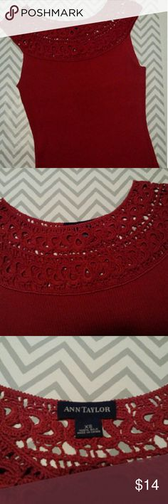 🐙🐬Sleeveless Summer Sweater Crochet neckline sleeveless size extra small small only worn once deep red in perfect condition Ann Taylor Tops Tank Tops