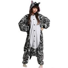 Look the most adorable, unique and fun at a pajama party in this Zebra Onesie made with soft flannel and designed to keep you comfortable, snug and happy! Black and white carrying the officially cute