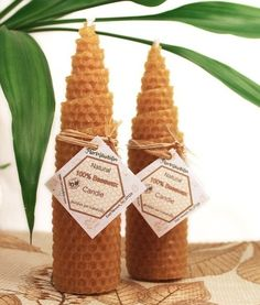 Pure beeswax candles. WE like these a lot and they smell fantastic. Buy your raw beeswax candle making kit here: http://www.mahakobees.com/store.html