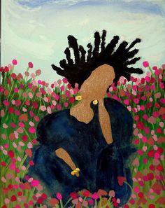 Folk Art Acrylic Painting He Loves Me Not on 18 x