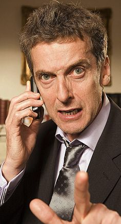 """Peter Capaldi as Malcolm Tucker in """"The Thick of It"""". I understand you used to - in the Yank vernacular - 'swear like a sailor'. The Doctor would like to have a word with you about that. Doctor Who Cast, Peter Capaldi Doctor Who, The New Doctor, All Doctor Who, Twelfth Doctor, Malcolm Tucker, Spin Doctors, Weight Watchers Smart Points, Clara Oswald"""