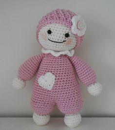 Cute for first baby doll Crochet Teddy, Crochet Bunny, Cute Crochet, Crochet Toys, Doll Amigurumi Free Pattern, Crochet Dolls Free Patterns, Amigurumi Doll, Rabbit Crafts, Diy Crafts Crochet