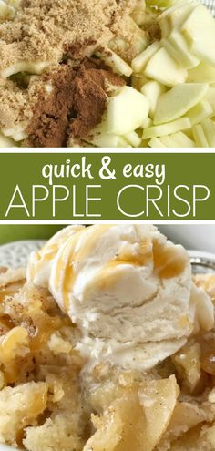 Apple Crisp Recipe | Simple Apple Crisp is a quick & easy apple crisp recipe. Soft apples with a sugar cookie shortbread topping. Simple ingredients and easy enough for anyone to make. Serve with a scoop of ice cream and caramel drizzle for the best apple dessert. #applerecipes #appledessertrecipes #dessert #applecrisp #fallbaking #recipeoftheday Mini Desserts, Best Apple Desserts, Quick Apple Dessert, Apple Dessert Recipes, Quick Easy Desserts, Apple Recipes Easy Quick, Apple Deserts Easy, Healthy Desserts, Delicious Desserts
