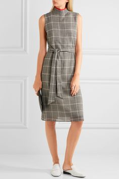 CEFINN Belted Prince of Wales checked wool-blend  dress  $360.00 https://www.net-a-porter.com/product/830023