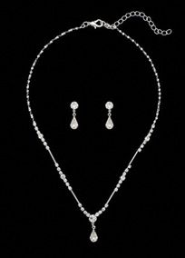 """The perfect accent for any outfit!!   Silver 16"""" necklace with 3"""" chain extender and lobster clasp closure.  Coordinating earrings feature round crystal with pear-shaped crystal drop.  Surgical steel post with comfort disc back.  Imported."""